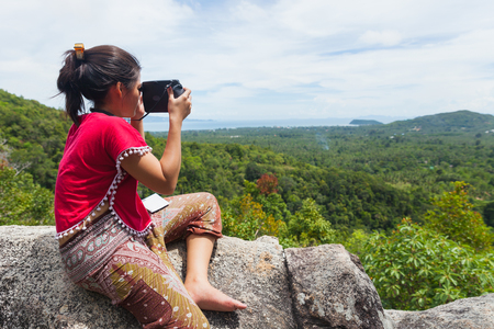SURAT THANI, THAILAND - Jul 17 : Traveller Taking the picture of landscape view at Koh Phangan on July 17,2016 in Surat Thani, Thailand. Editorial