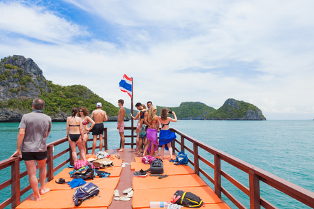 SURAT THANI, THAILAND - Jul 19 : Unidentified tourists visit Angthong National Marine Park on July 19,2016 in Surat Thani, Thailand.