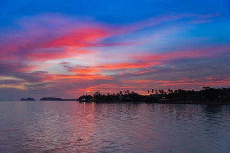 Beautiful sunset scene in koh phangan, Surat Thani, Thailand.