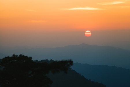 landscape view include mountain and forest with sunset scene at Phu Soi Dao national park, Thailand.