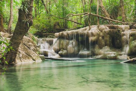 Amazing beautiful waterfall is Erawan waterfall in Erawan National Park, Kanchanaburi, Thailand Stock Photo