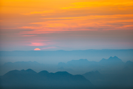 loei: Morning light with mountain and mist view from Phu Kradueng, Thailand.