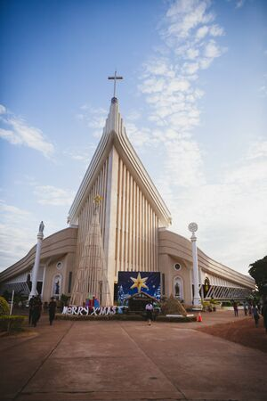SAKHON NAKHON, THAILAND - DEC 23 : Michael's Cathedral is The largest Catholic Church in Sakon Nakhon Thailand on December 23, 2016.