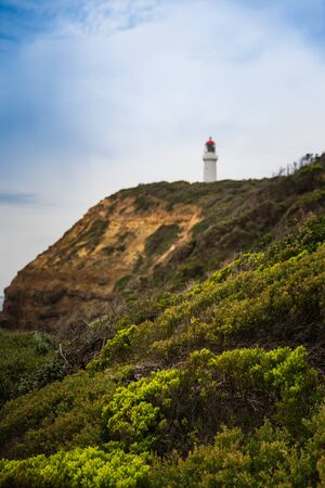 Natural view with lighthouse in Mornington Peninsula National Park.
