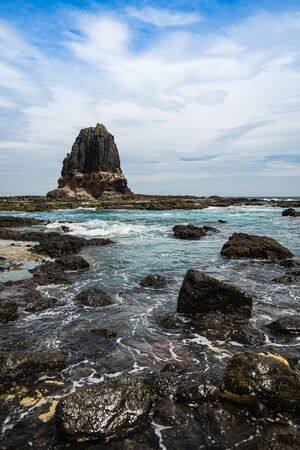 View of Pulpit rock at Cape Schanck in in Mornington Peninsula National Park, Victoria, Australia. Stock Photo