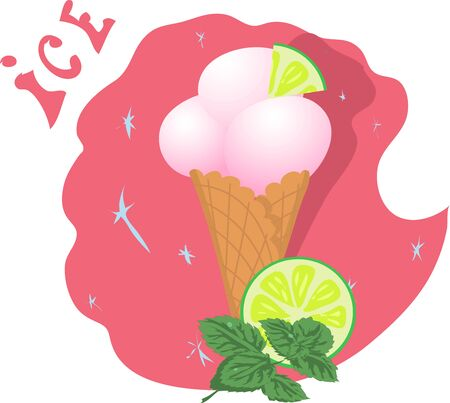 ice cream in a waffle cup with lime and mint. Vector illustration for summer