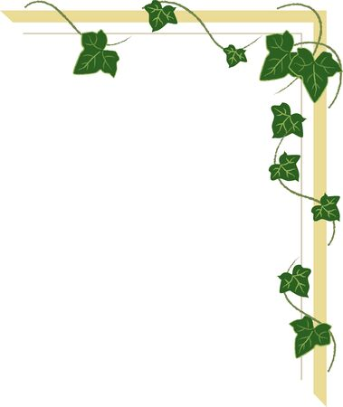 corner ornament with ivy shoots, frame with green leaves Ilustração