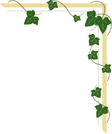 Eckornament mit Efeutrieben, Rahmen mit grünen Blättern