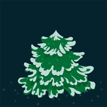 Christmas Pine Tree With Snow. Illustration of a christmas pine tree isolated, with winter snow on its branch