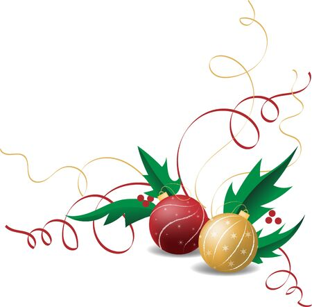 Christmas festive composition with balls and holly for the New Year. Vector illustration