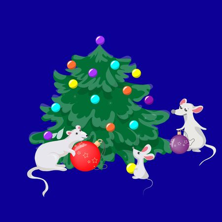 Year of the rat Christmas mouse decorate the Christmas tree