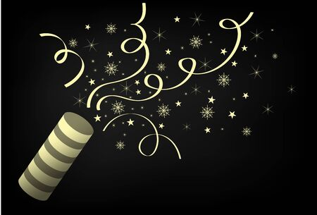 Elegant Gold Merry Christmas and happy new year Party cracker with Confetti. Celebrating a new year, birthday, anniversary.