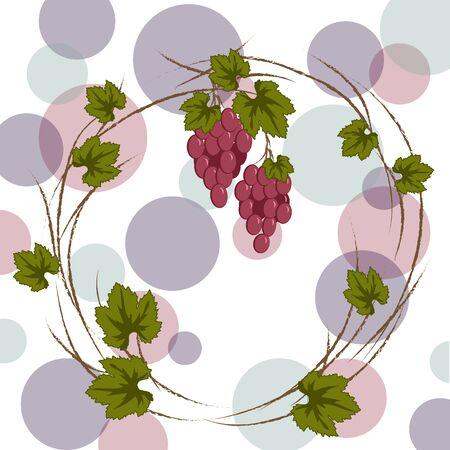 vector wreath of burgundy vine for labeling, menu, harvest festival on a light background Ilustracja
