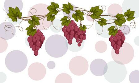 vector garland of burgundy vine for labeling, menu, harvest festival on a light background