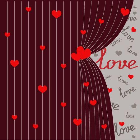 ajar red curtain with red hearts for Valentines day, romantic postcard, vector