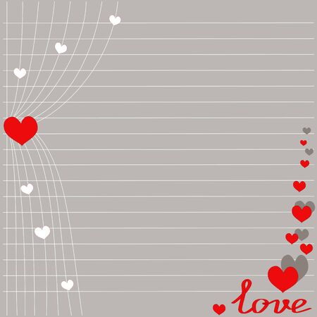 ajar red curtain with pink hearts for Valentines day, romantic postcard, vector Ilustracja