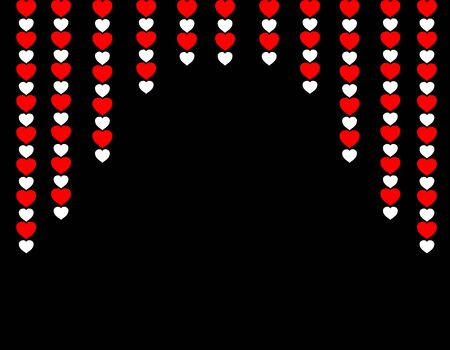 vector curtain of multi-colored hearts for decoration of cards for a wedding or Valentines Day, a symbol of love