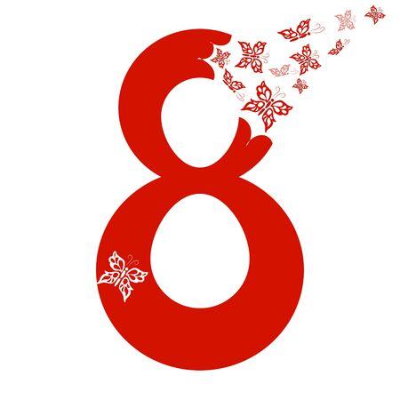 Félicitations le 8 mars, élément décoré de papillons pour la conception de cartes postales, d'affiches. vecteur Vecteurs