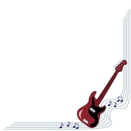 corner frame with a guitar for the design of music commercials, cards, presentations with dark background Vettoriali