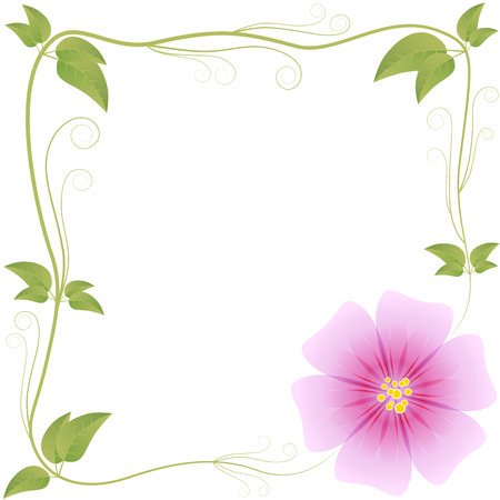frame from leaves and flowers Illustration