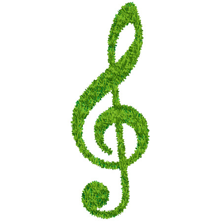 treble clef of grass isolated on white background Illustration