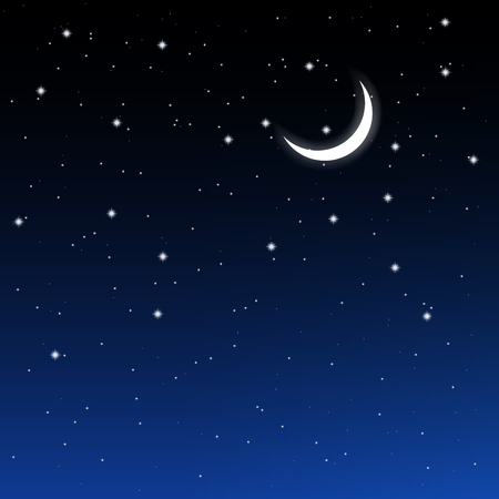 eventide: starry sky and crescent