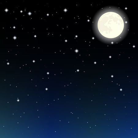 eventide: starry sky and the moon