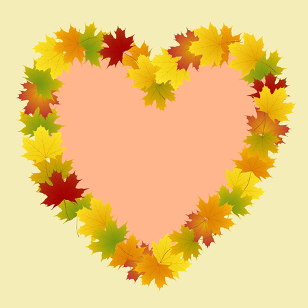 frame of maple leaves in the form of heart