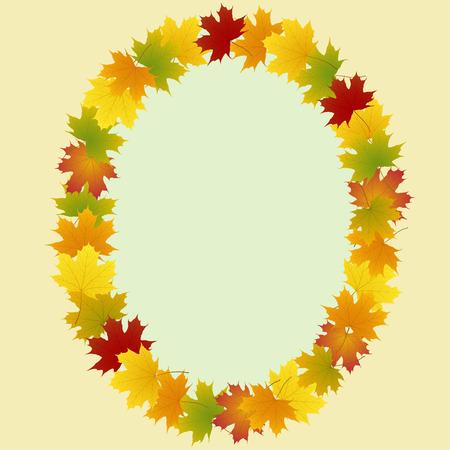 frame of maple leaves oval Illustration