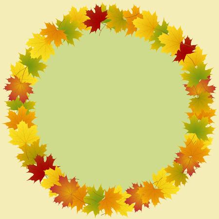 frame of maple leaves round Illustration