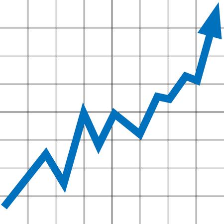 raising graph with a blue arrow Illustration
