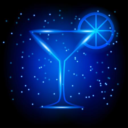 wineglass: neon martini wineglass