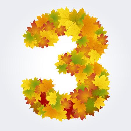 number three of autumn leaves Illustration