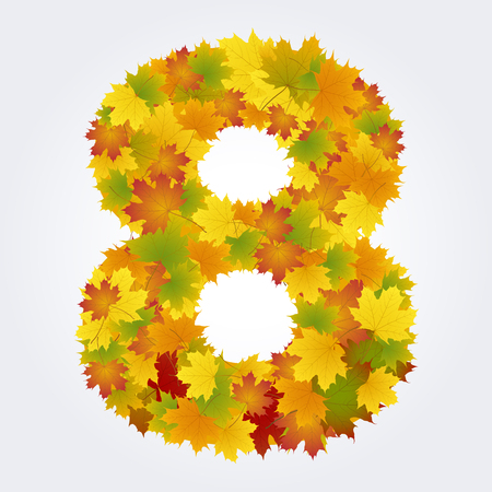 number eight of autumn leaves