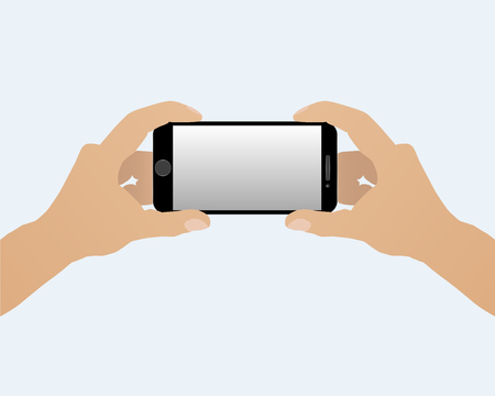 holding smart phone: Two hands holding smart phone horizontally isolated on a light background