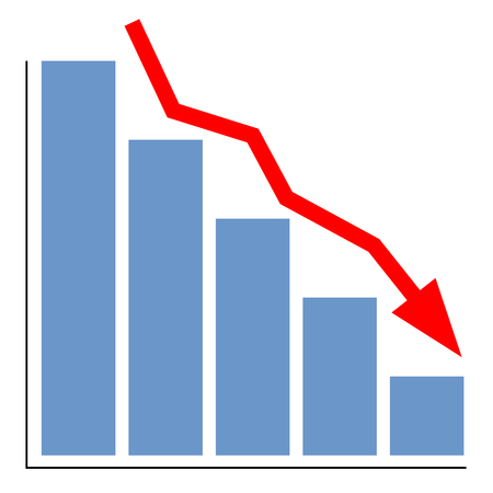 lowering: lowering chart with a red arrow Illustration