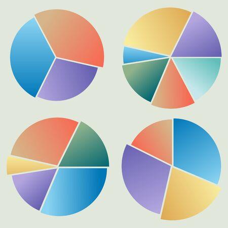 raccolta di diagrammi circolari colorati su sfondo chiaro Vettoriali