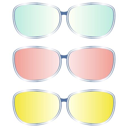 Collection of multi-colored glasses (blue, red, yellow)
