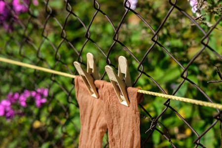 Thin brown women's socks hang on a rope attached with clothespins and dry in the sun against the background of an old rusty mesh fence and garden, close-up. Stock fotó