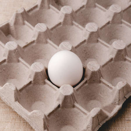 One white chicken egg lies in a paper tray on a table covered with a cloth, in a square format. Stock fotó