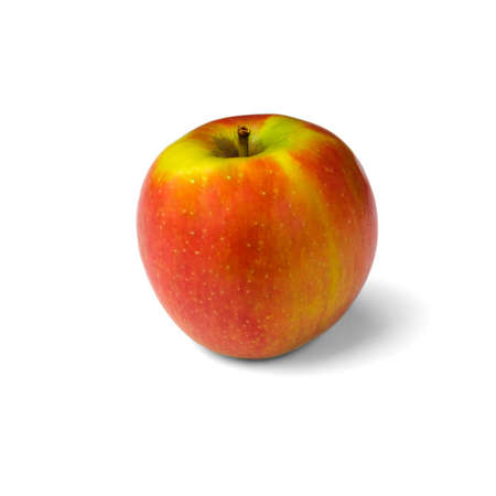 One red-yellow apple with small mottles with soft shadows, isolated on a pure white background in a square orientation. Stock fotó