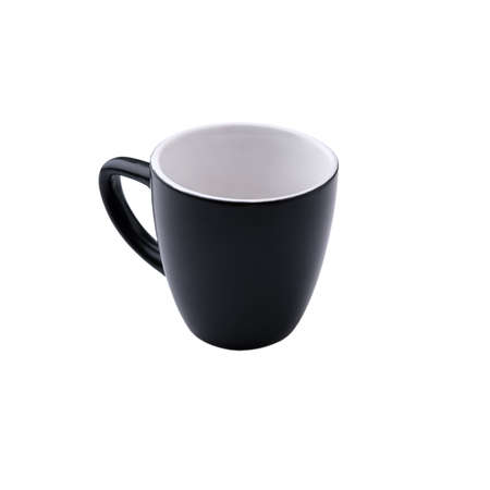 Black small coffee mug with handle, light inside, isolated on a pure white background without shadows in a square orientation.