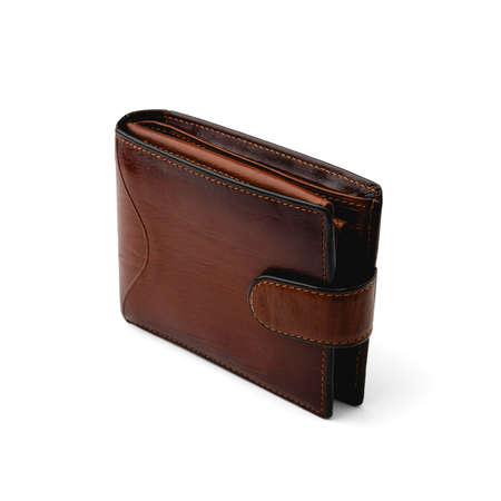 A brown leather money wallet stands closed vertically diagonally on a clean white isolated background in a square orientation.