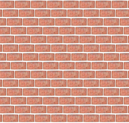 Old cracked red brick background pattern with lots of chips and depressions on a clean white isolated layer.