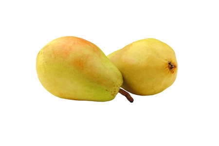 Two yellow ripe pears isolated on white Stock fotó