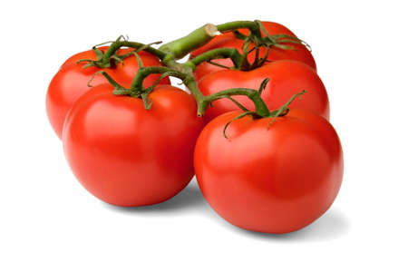 A branch with red tomatoes close-up lies sideways and casts a shadow on a white isolated background. Stock fotó