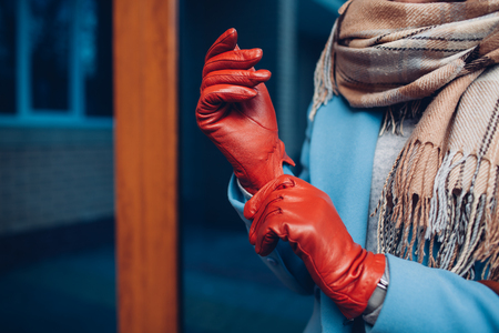 Elegant outfit. Closeup of of stylish woman in coat, scarf and brown gloves. Fashionable girl on the street.