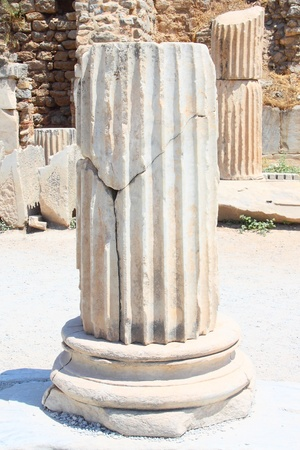 brothel: Fragment of an antique column in a city in the Efes, Turkey Stock Photo