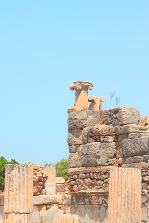 Antique columns in a city in the Efes, Turkey Stock Photo