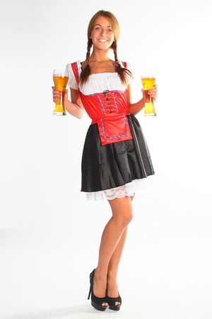 waitress: The girl in a traditional Bavarian dress with full glasses of beer in hands
